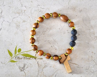 Olive wood bracelet mini rosary golden and natural beads olive wood cross holy land
