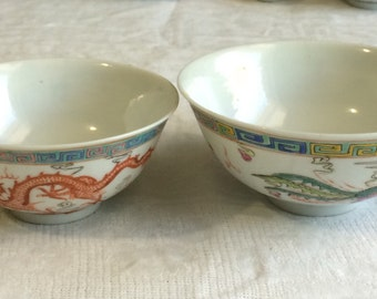 Antiques Chinese Porcelain Famille Rose Hand Painted Dragon Phoenix Bowl Set of Two 19th Century