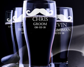 Pilsner Wedding Glass - Personalized Engraved Beer Glass - Personalized Groomsmen Beer Mug - Groomsmen Pilsner Glass -Engraved Pilsner Glass