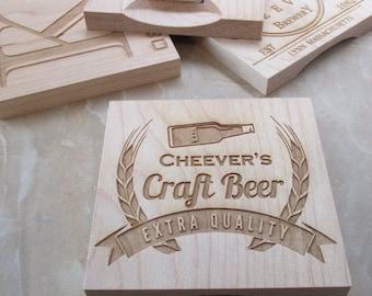 Engraved Coaster - Personalized Wood Coaster - Wood Coasters - Wood Coaster Set -Custom Craft Beer Coaster - Engraved Coaster - Coaster Set