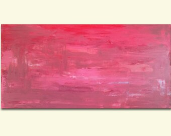 """Abstract, 48"""" x 24"""", Acrylic Painting, Pink Crush, Canvas, Original"""