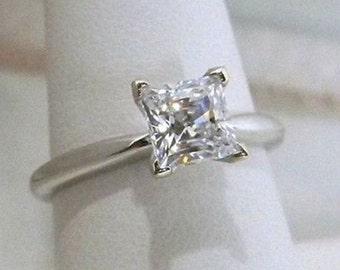 Princess Cut Engagement Ring 1.25 Carat V-Prong Solitaire Design Solid 14K White Gold
