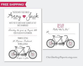 PRINTED or DIGITAL Fun Wedding Invitation RSVP Set, Free Shipping, Bicycle Wedding Invitation, Tandem Bicycle Invitation, Tandem Bike