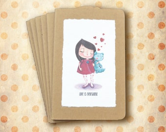 """Mini Notebook """"Love is everywhere"""" - Little girl with teddy bear and hearts"""