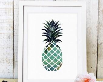 30% OFF SALE Pineapple Print,Pineapple Art,Pineapple Decor,Printable Wall Art,Summer Art,Beach Pineapple,Digital Prints,Downloadable Art,
