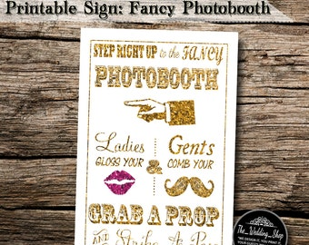 "Instant Download- Printable JPEG DIY Gold Glitter Effect & Pink Glitter Effect Lips Wedding Sign: Fancy Photobooth 4"" X 6"" Signage"