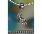 Sterling Silver German Shepherd Charm or European Style Charm Bracelet