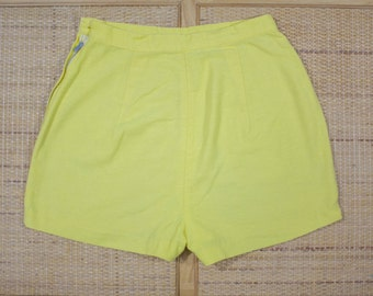 "50s Yellow Shorts | 50s Highwaist Shorts | Yellow Highwaist Short | 1950s Shorts | Yellow Rockabilly Shorts | 50s Cotton Shorts |  25"" Waist"