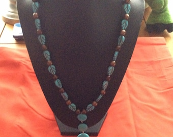 Brown leaf Turquoise necklace