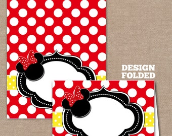 Minnie Mouse Food Labels, Minnie Mouse Buffet Labels, Minnie Mouse Tent Cards, Minnie Mouse Place Cards, Red,Yellow (#612)