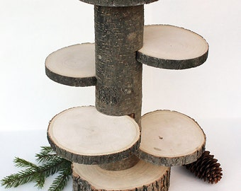 4 Tiered Rustic Cup Cake Stand. Wood Stand. Rustic Cake Stands. Rustic Centerpiece. Rustic Cupcake Stand