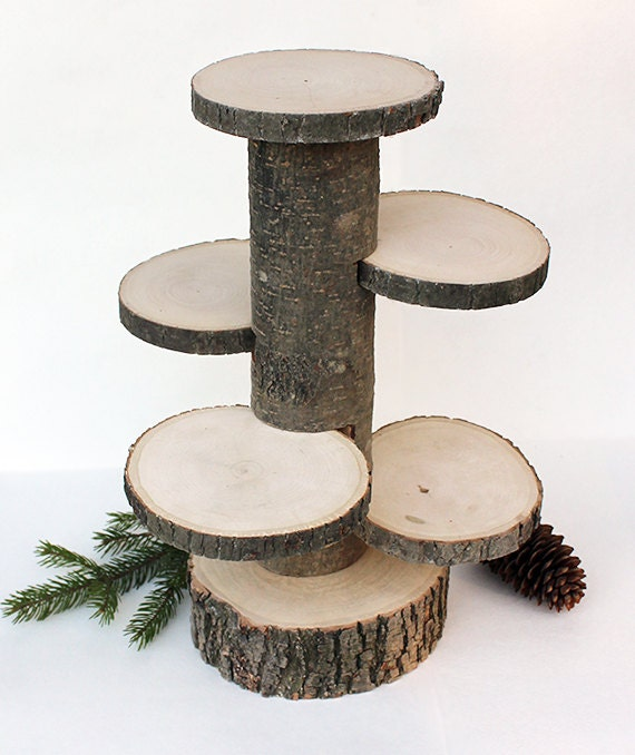 4 Tiered Rustic Cup Cake Stand Wood