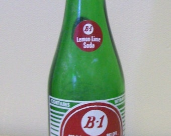 Antique vintage B-1 Lemon Lime Soda green glass bottle