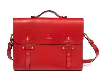 Leather Satchel made in Paris - Vermilion Red