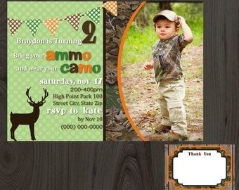Camo Birthday Party Invitation with Picture DIY Printable