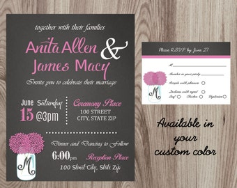 Mason Jar Chalk Board Wedding Invitation & Response Card Printable DIY