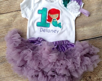 Lavender and teal mermaid 1st birthday outfit - 1st 2nd birthday bodysuit, skirt, and headband
