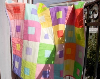Baby quilt and pillow case Pastel
