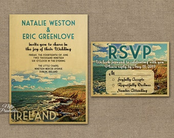 Ireland Wedding Invitation - Printable Vintage Ireland Wedding Invites - Ireland Destination Wedding - Retro Irish Wedding Suite or Solo VTW