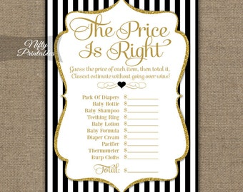 The Price Is Right Baby Shower Game - Black & Gold Baby Shower Game - Baby Price Is Right Game - Black White Stripe Instant Download - BGL