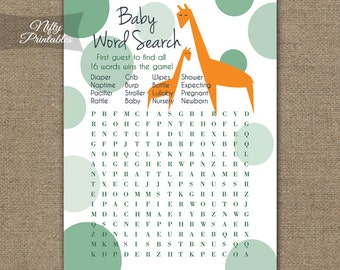 Giraffe Word Search Game - Giraffe Baby Shower Games - Neutral Baby Shower Games - Printable Baby Shower Games - Orange Green - GIR