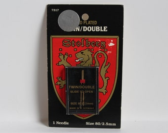 TWIN/DOUBLE SEWING Machine Needle,Gold Plated sewing machine needle,Made in W. Germany,Stolberg needle, vintage sewing supply,size 80 needle