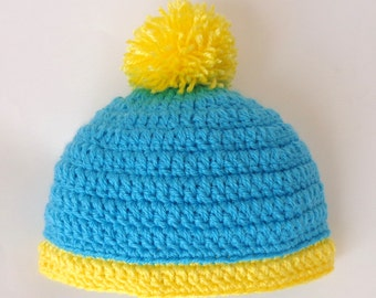 Eric Cartman Hat With Pom Pom South Park Costume  - Newborn to Adult Halloween / Cosplay Wig