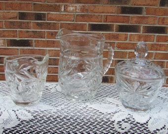 Anchor Hocking Pitcher, Sugar Bowl and Creamer Star of David ~ Set of 3 ~Cottage Décor~Shabby Chic Glassware~Mid Century~Anchor Hocking EAPC