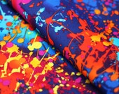 Stretch Fabric - Graffiti Print, Multi Splatter Print on Navy Blue Four way Stretch Fabric by the 1/8, 1/4 or 1/2 Yard Cut Item#RXPN-30038