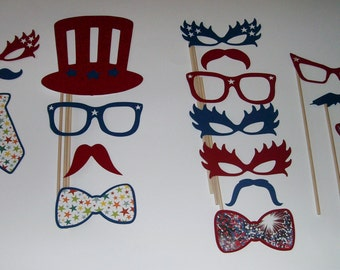 DIY PhotoBooth Prop, Mustache on a stick, fourth of July,glasses,hats,holiday,celebration 17pc (2032D)