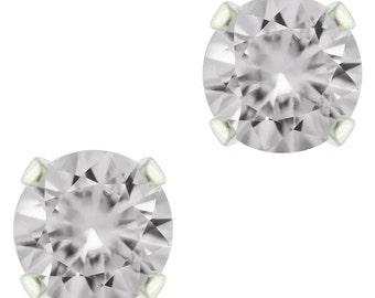 925 Sterling Silver Natural 3mm to 6mm  Diamond Cut White Topaz Gemstones Stud Earrings