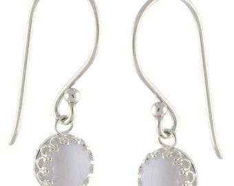 925 Sterling Silver Natural 8mm Cabochon Lace Agate Gemstones Crown Bezel Set Hook Earrings