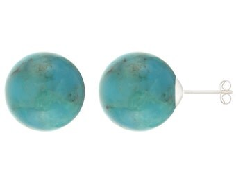 925 Sterling Silver Natural 8mm Round / Ball Turquoise Gemstones Stud Earrings