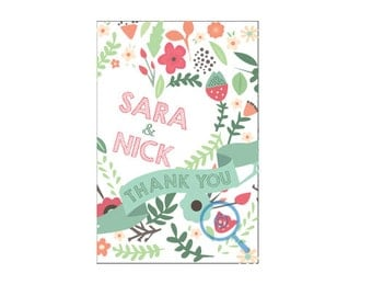 Spring Time Thank You Postcard (wedding or personal)