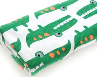 Slub Knit Fabric Crocodile Green By The Yard