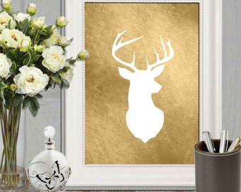 Gold Stag head print Printable Brown white deer Wall art White Stag silhouette art Copper Digital home decor Woodland animal Forest DOWNLOAD