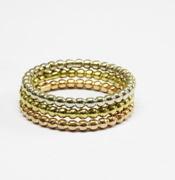 14k Gold Rings Wedding Ring Stack Rings Set Of 3 Rings Beaded Ring