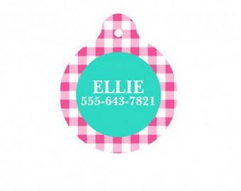 Personalized Hot Pink Gingham Dog Tag