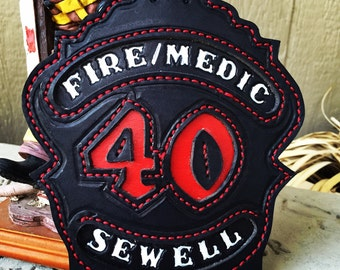Firefighter Helmet Shield - Custom Made Fire Helmet Front - Leather and Personalized For You