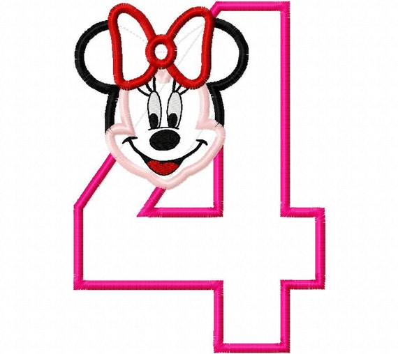 Miss Mouse Full Face Birthday Number four fourth 4 Applique Design Applique Machine Embroidery Design 5x7 ONLY minnie