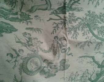 Gorgeous vintage French toile green and white decorator fabric heavy and lovely