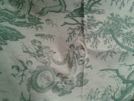 Gorgeous Vintage French Toile Green And White Decorator Fabric