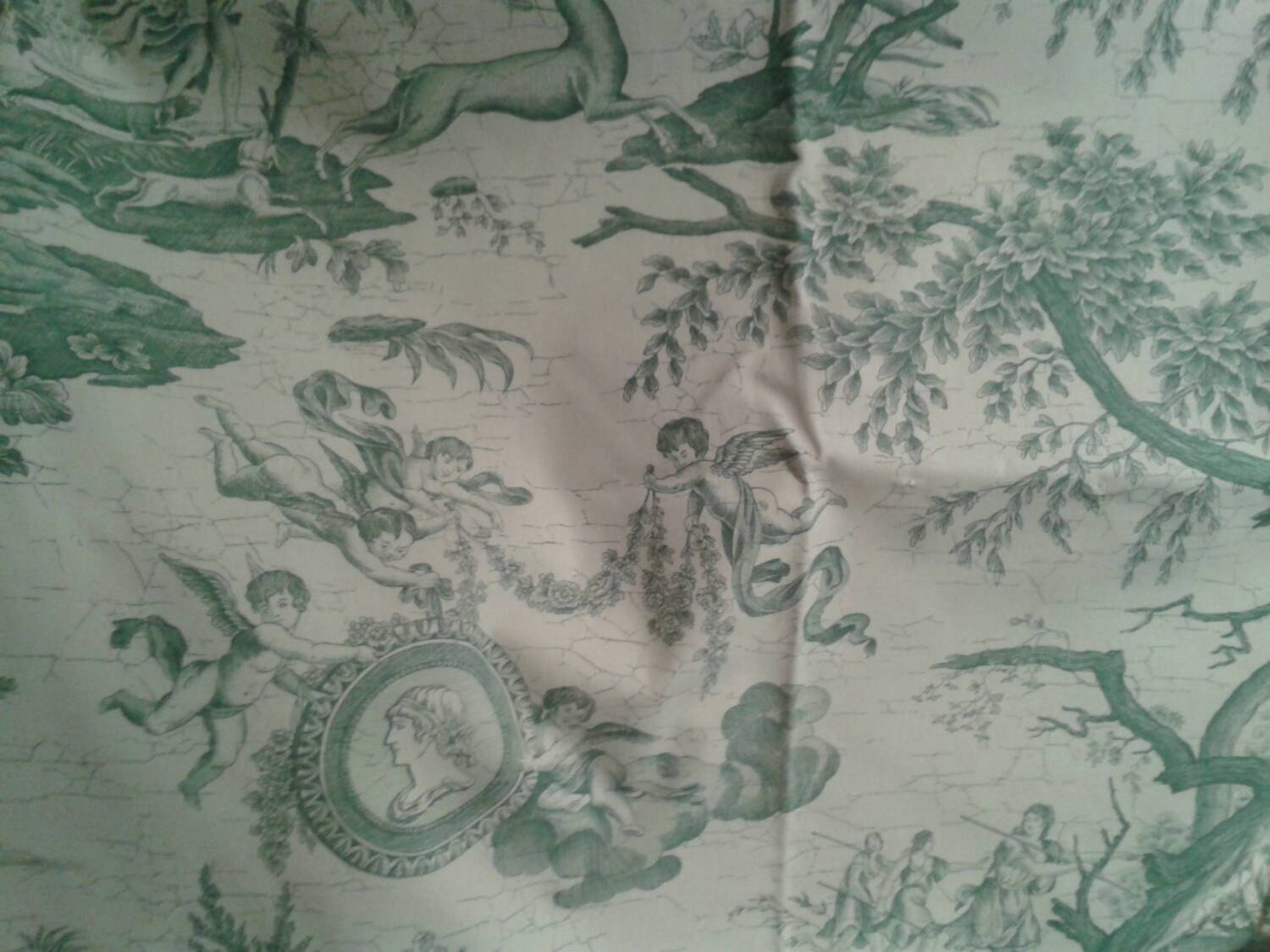 Gorgeous vintage french toile green and white decorator fabric for French toile fabric