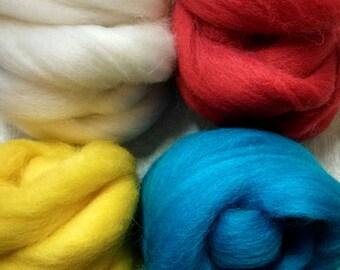 4 pack of colors, Corriedale wool