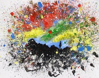 Standing in an explosion of colour, yellow, red, blue, figure