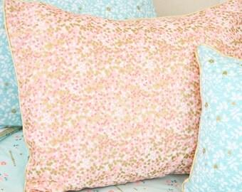 Coral & Gold Sparkle Pillow Sham | Metallic Gold Standard Pillow Sham