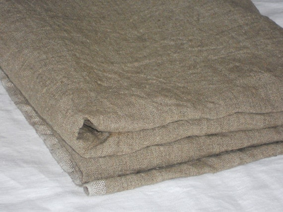 Taupe linen fabric by yardage prewashed rough rustic natural - Taupe kamer linnen ...