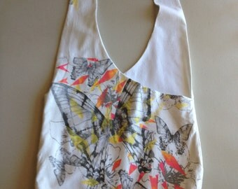 Handmade Upcycled Butterfly Print Hobo Shoulder Purse