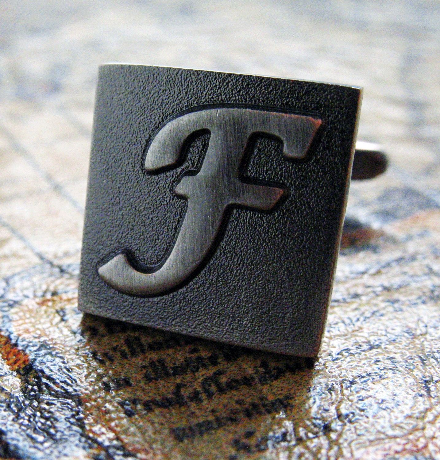f initial cufflinks gunmetal square 3 d letter english lettering personalized cuff links groom father