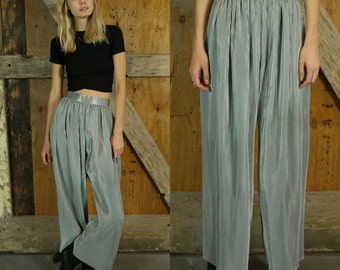 SILVER PLEATED PANTS Rare Unique 70s 80s High Waisted Wide Legged Trousers Metallic Size Extra Small xs